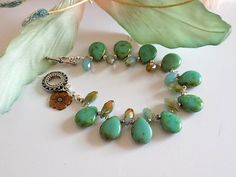 Turquoise Beaded Bracelet Victorian Charm by TreasuresofJewels