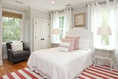 painted black beams with white tongue and groove | want this guest bedroom in my house! Isn't it great? Every single ...