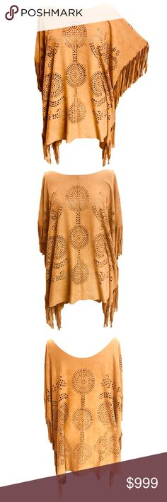 <<Just In>> New~ Laser Cut Paisley Pattern Poncho Laser Cut Paisley Pattern Fringe  Faux Suede Poncho  Condition: New with tags Color: Mustard tan Product Details:  Faux Suede Laser cut paisley pattern Fringe side design One Size Poncho 91% Polyester; 9% Spandex Buttery soft material   >>Make offers with the offer button >>No Trades >>Bundle 2+ items & Save 10% Tops