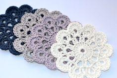 Crocheted flower coasters