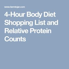 4-Hour Body Diet Shopping List and Relative Protein Counts