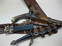 3 Inch Brown Leather Pirate Pistol and Sword Baldric with Dagger Frog