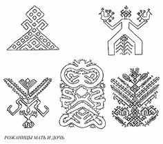 Mother and daughter birth goddesses (рожаницы) symbols in Russian head gear embroidery