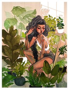 Greenhouse is a part of my solo show from June about growth. The original piece is a large watercolor illustration on wooden panel, and was photographed and printed onto high quality giclee print on premium matte paper. - Online Store Powered by Storenvy Art Sketches, Art Drawings, Art Diy, Craft Art, Witch Art, Aesthetic Art, Cute Art, Art Inspo, Amazing Art