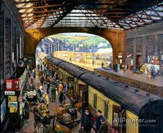 The Terminus, Penzance Station, Cornwall Stanhope Alexander Forbes National Railway Museum Best Vacation Destinations, Best Vacations, National Railway Museum, Train Art, Old Trains, Vintage Trains, Le Far West, Art Uk, Train Travel