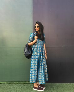 Nails art ideas for summer for women 67 Ideas Casual Frocks, Casual Dresses, Fashion Dresses, Casual Wear, Casual Indian Fashion, Ethnic Fashion, Indian Attire, Indian Outfits, Indian Clothes