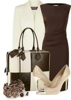 Loving the bag! Brown dress work fashion or night out Komplette Outfits, Classy Outfits, Fashion Outfits, Womens Fashion, Fashion Ideas, Stylish Work Outfits, Formal Outfits, Nail Fashion, Skirt Outfits