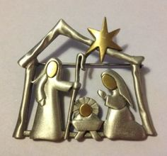 JJ VINTAGE NATIVITY MANGER BIRTH OF JESUS TWO TONED GOLD TONE AND PEWTER BROOCH