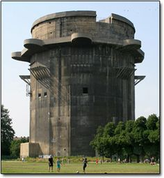The Augarten Flak Tower- Vienna, Austria- one of several flak towers constructed by Hitler (literally -- he personally took part in designing them) in 1942 to act as combined bomb shelters and anti-aircraft battlements against the Allied forces -- a job they carried out so well that when the Soviets later tried to demolish them in peacetime, their explosives only hurt the surrounding buildings.