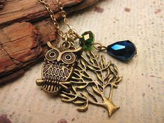 Tree Owl Necklace by trinketsforkeeps on Etsy, $9.00