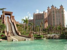 "The Atlantis grounds have waterfalls, streams, lagoons filled with sea creatures, underwater viewing areas: with 11 exhibit lagoons and 11 million gallons of water, the resort claims it has the ""largest marine habitat in the world""."