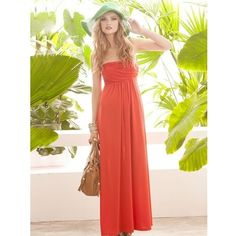 Rose Cotton Blend Hot Sale Strapless Women Korean Fashion Long Dress... via Polyvore