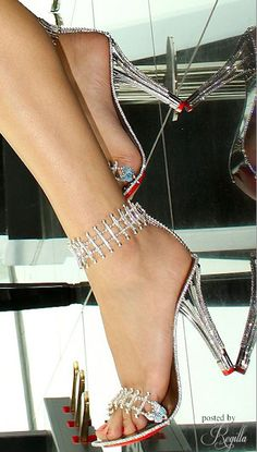 Jeweled Ankle Strap High Heels