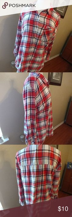 """Plaid shirt Plaid shirt with red, white, blue and brown colors.  Very mild piling.  Measures approximately 27"""" from shoulder to hem. Tops Button Down Shirts"""