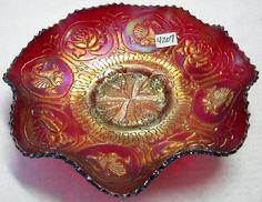 Fenton Carnival Glass | Fenton Carnival glass cherry red Dragon & Lotus, eight ruffled bowl ...