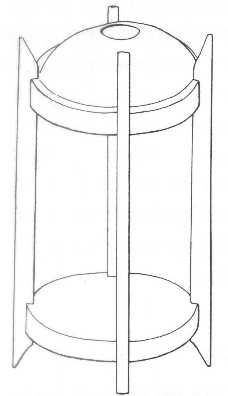 Artist rendition of Cattewater stave and a possible lantern reconstruction, c. 1530