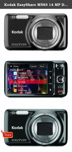 """Kodak EasyShare M583 14 MP Digital Camera with 8x Optical Zoom and 3-Inch LCD - Black. Super-slim camera is only 8/10"""" thick so it can easily go where you go. The 28mm wide-angle lens with 8x optical zoom to 224mm is great for group shots or scenery. With EasyShare features you can automatically e-mail or upload your photos to popular sharing sites with the touch of a button when you connect to your computer. One-button activated high-definition 720p video lets you capture the moment…"""