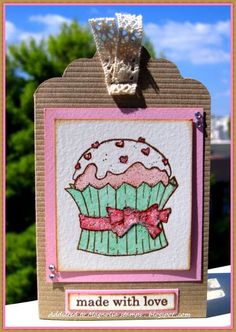 """Hello my friends!!I'm back with a very sweet creation for the new challenge atMagnolia For Ever!! This is my DT creation for challenge#18 with theme """"Rhinestones and Glitter"""". It's a CAS tag-card ."""