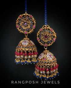 Jhumki Earrings, Lace Earrings, Antique Earrings, India Jewelry, Temple Jewellery, Marriage Jewellery, Gold Earrings Designs, Jewelry Patterns, Bridal Jewelry