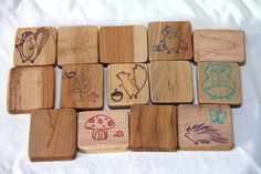 woodland memory game made from reclaimed wood - natural wood toy