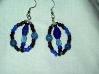 Lovely blue and black round beaded earrings FREE shipping $7.50