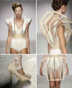 Winde Reinstra: S/S 2010  Laser cut wooden structures, almost harp like, sporting thread which threads through and creates architectural and sculptural pieces of art. Strong use of line (straight) to form interesting line work around the body from a 360 degree angle.