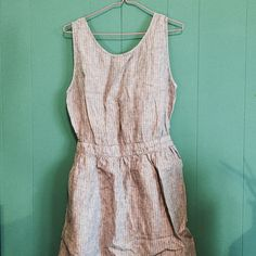 Open back dress Cotton, perfect for summer, open back, pockets, pinstripe MNG Dresses Backless