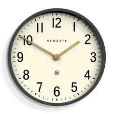 The Mr Edwards wall clock by Newgate Clocks. A large contemporary wall clock in dark grey with a modern graphic dial.