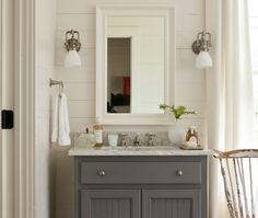 Refaced Benjamin Moore Kendall Charcoal Grey Vanity Travertine - Kendall bathroom vanities