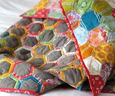 yum!! Flower Pots Quilt As You Go Wrapped Hexagon Quilt - Entropy Always Wins