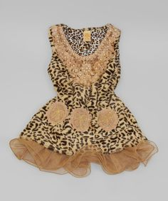 Take a look at this Mia Belle Baby Brown Cheetah Crocheted Collar Tunic - Toddler & Girls on zulily today!