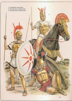 Armies of the Macedonian and Punic Wars. Here is a great illustration of the Italian allies that fought with and against Rome during the Punic Wars. The first is a Samnite with his easily discernible shield. The warrior at his feet is a wounded Lucanian and behind shows a Campanian cavalryman.