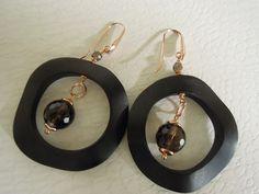 ebony and silver earrings with smoky quarz stone