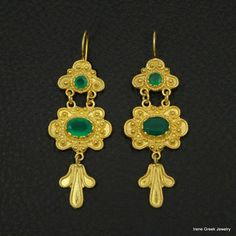 NATURAL GREEN ONYX BYZANTINE 925 STERLING SILVER 22K GOLD PLATED GREEK EARRINGS #IreneGreekJewelry #DropDangle
