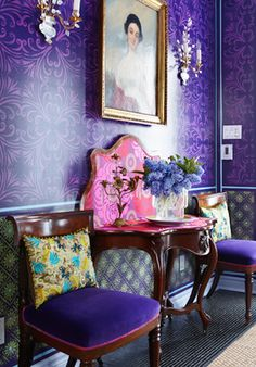 Pantone Ultra Violet is a galactic, deep purple shade that is about to take the world of design by storm and push the boundaries of what inspires us. Purple Rooms, Purple Walls, Purple Ceiling, Home Interior, Interior Decorating, Purple Interior, Luxury Interior, Decorating Ideas, Retail Interior