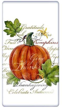 Give Thanks Pumpkin 100% Cotton Flour Sack Dish Towel Tea Towel