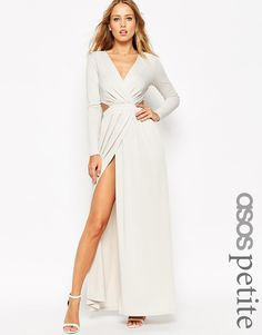 Image 1 of ASOS PETITE Draped Plunge Cut Out Maxi Dress