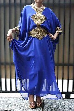 Moroccan-Blue-caftan-maxi-dress-gold-embroidery-sheer-chiffon-abaya-dubai-style