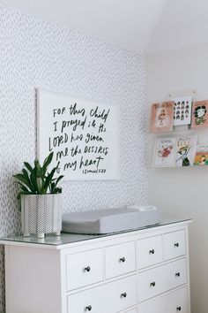 Neutral baby girl nursery decor | Daily Craving Blog | Houston Blog Spotted Wallpaper, Baby Girl Nursery Decor, Statement Wall, Project Nursery, Changing Pad, Grey And White, Cribs, Neutral, Room Decor