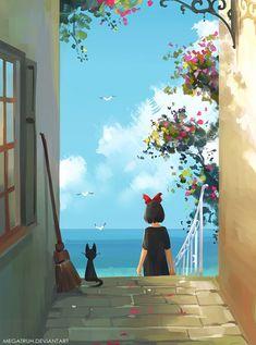 One of my favorite Studio Ghibli films Totoro, Studio Ghibli Art, Studio Ghibli Movies, Hayao Miyazaki, Film Anime, Anime Art, Kiki Delivery, Kiki's Delivery Service, Howls Moving Castle