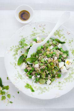 Quinoa salad with peas,favas,feta mint and lemon