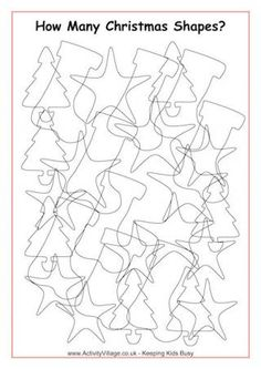 There's quite a jumble of shapes in this Christmas puzzle! Can you sort them out and count them accurately? Christmas Colors, Christmas Themes, Christmas Gifts, Christmas Ornaments, Colouring Pages, Food Coloring, Coloring Sheets, Counting Puzzles, Christmas Puzzle