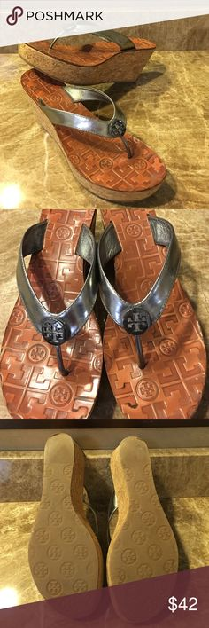 Tory Burch Silver Wedges Silver flip flop wedges. 3inch heel 1.5 inch wedge. Minimal wear and tear. Tory Burch Shoes Wedges