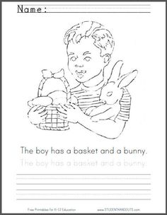 Free Printable Coloring Page PDF File Featuring A Boy With Bunny Rabbit And An Easter Basket