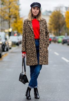 Nadine Bauer wearing baker boy hat, leopard print coat, red knit jumper and indigo jeans with black ankle boots Emma Roberts wearing leopard-print jacket with black jeans, grey T-shirt and scarf Leopard Print Outfits, Leopard Print Jacket, Leopard Print Coat, Fall Winter Outfits, Autumn Winter Fashion, Outfits With Hats, Casual Outfits, Asos Fashion, Legging Outfits