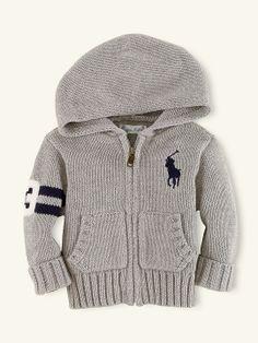 Grey & Navy Hooded Full-Zip Rugby Cardigan - Big Pony Ralph Lauren - Layette Baby Boy Sweater via RalphLauren.com