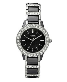 Fossil Watch, Women's Jesse Stainless Steel and Black Ceramic Bracelet 34mm CE1018 - Fossil - Jewelry & Watches - Macy's $165