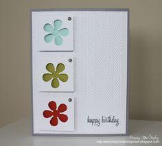 Punch: Retro Flower (EK Success)  other: Herringbone embossing folder (Cuttlebug)