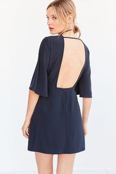 Silence + Noise Open-Back Bell-Sleeve Mini Dress