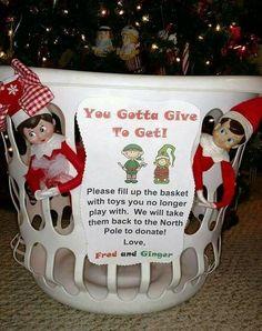 Love this idea! 😃👍🏼❤ Elf on shelf donating toys idea Noel Christmas, Christmas Elf, Christmas Eve Box Ideas Kids, Kids Christmas Gifts, Christmas Traditions Kids, Christmas Activities, Family Traditions, Xmas Ideas, Christmas Recipes